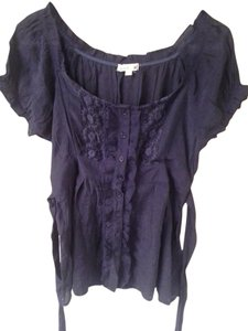 Only Mine Deep Sheer Lace Tie Back Top Navy blue