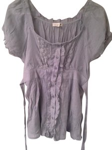 Only Mine Sheer Grey Lace Trim Tie Back Top Heather Grey