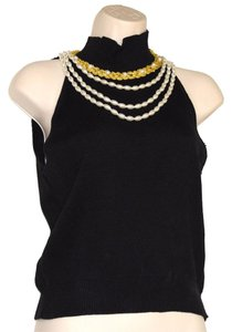 Lew Magram Sleeveless Knit W/Pearls Gold Sweater