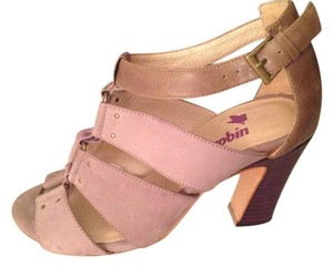 Farylrobin Pastel Genuine Leather Stacked Heel Chunky Heel Metal Hardware Lilac/purple Sandals