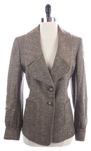 Ellen Tracy Herringbone Brown Blazer