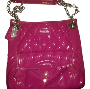 Coach Leather Pink Patent Leather Tote in fuscia