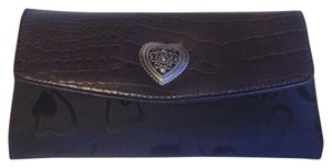 Patent Leather Charm Rich Black Brown Gold Clutch