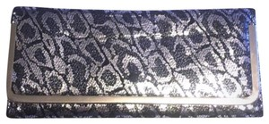 Other Animal Leopard Shiny Silver Black Silver Clutch