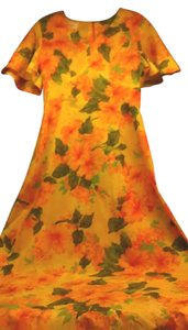 Multi-Color Maxi Dress by Other Vintage Hawaiian 1950s 1960s Hibiscus Print Maxi