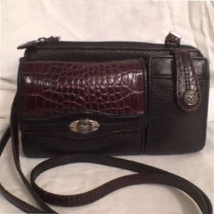 Brighton Leather Organizer Croc/gator Travel/weekend Cross Body Bag