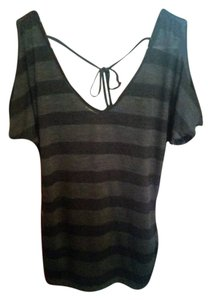 American Dream Striped Yukidarling Top Black and Light Black