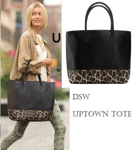 Faux Leather Tote in DSW LEOPARD UPTOWN TOTE BLACK