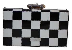 Kate Spade Patent Leather Checkered Black white/black Clutch