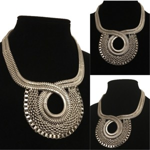 Big Silver Snake Chain Statement Necklace