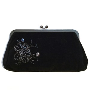 Express Sequin Evening Floral Black Clutch