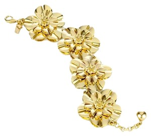 Kate Spade NWT Kate Spade 12k Gold Plated Swim Team Floral Statement Bracelet MSRP $178