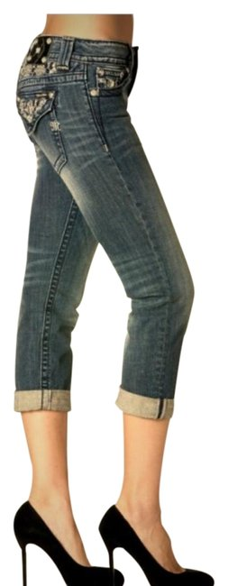 Item - Dark Blue Distressed Boyfriend Jb6200p Capri/Cropped Jeans Size 25 (2, XS)