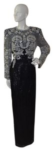 Oleg Cassini Tie He-ro Industries Sequin Pearls Crystals Dress