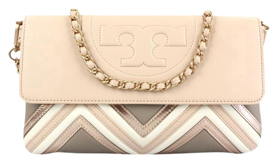 5ddc053aaf7e Tory Burch Fleming Geo-leather Clutch Light Oak Leather Shoulder Bag ...