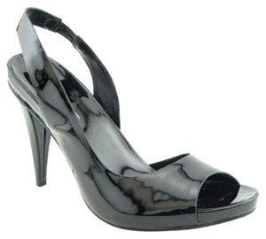 INC International Concepts Patent Patent Leather Slingback Peep Toe Cut-out Black Pumps