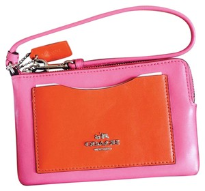 Coach Leather Wristlet in DHALIA & CARMINE