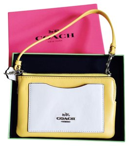 Coach Leather Wristlet in YELLOW & CHALK