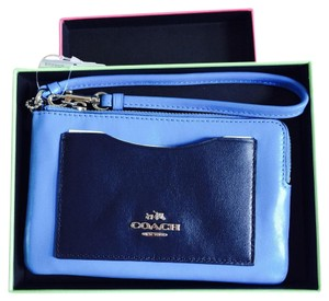 Coach Leather Wristlet in BLUE COBALT & NAVY