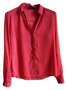The Limited Sheer Patterned Button Down Shirt red orange