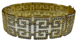 Technibond Technibond 2 Tone Greek Key Diamond Accent Hinged Bangle Bracelet Fits 6 1/2 to 7 Inch Wrist