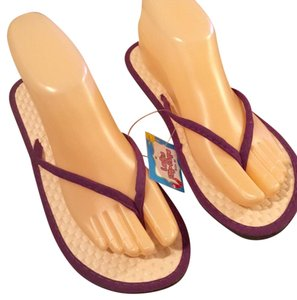 Purple Bamboo Sandals. Purple, Tan. Sandals