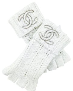 Chanel Chanel White Casmere Fingerless Glovess Embellished Crystal CC New With Tags