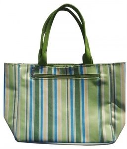 Unknown GREEN BLUE YELLOW STRIPE Beach Bag
