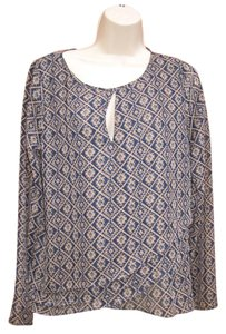 Anthropologie Tribal Keyhole Long Sleeve Top Blue Beige