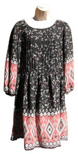 Skies Are Blue short dress Black Multi Pin Tuck Southwestern Floral Blouson on Tradesy