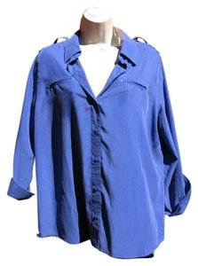 Chico's Silk Washable Convertible Top Blue