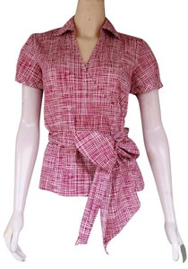 Ann Taylor Wrap Cotton Top Red