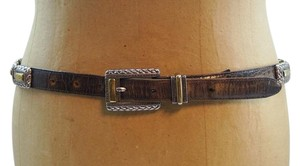 Brighton Vintage Brighton Brown Moc Croc Leather Silver Accents Belt Adjusts 30-36