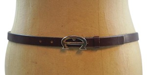 Etienne Aigner Vintage Etienne Aigner Dark Red Burgundy Leather Logo Buckle Belt Adjustable 31-33