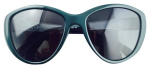 Chanel Chanel Dark Green Crystal Embellished Side Sunglasses Like New