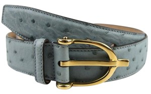Gucci Light Blue Ostrich Belt w/Stirrup Buckle 85/34 309906 e030t 4916