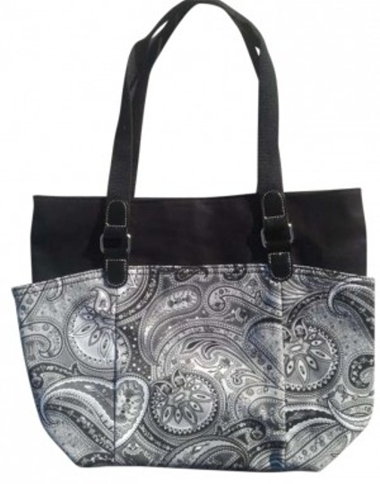 Preload https://item5.tradesy.com/images/black-white-and-gray-paisley-cotton-and-leather-tote-165904-0-0.jpg?width=440&height=440