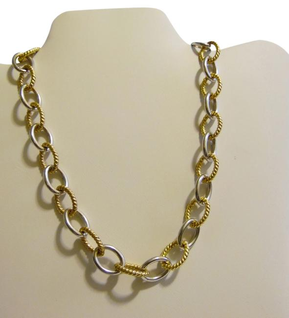 """Item - .925 Sterling Silver/18k Bonded Two-tone 18 """" Smooth & Textured Design Rolo Necklace"""