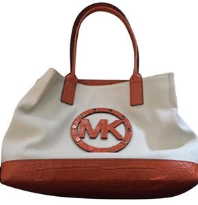 Michael Kors Tote in Tangerine /canvas white