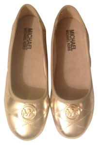 Michael Kors Mk Flat Quilted Gold Flats