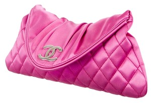 Chanel Quilted Half Moon Interlocking Cc Satin Silver Hardware Pink Clutch