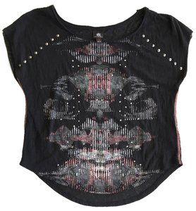 Rock & Republic Studded Distressed Top Black, Pink