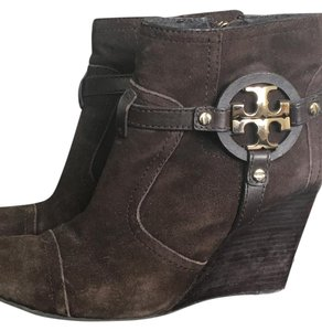 Tory Burch Wedge Suede Brown Boots