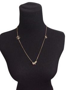 Chanel Long Golden Strass Crystal Multi Rings Cc Necklace