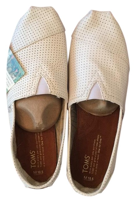 Item - White Perforated Leather Flats Size US 10.5 Regular (M, B)