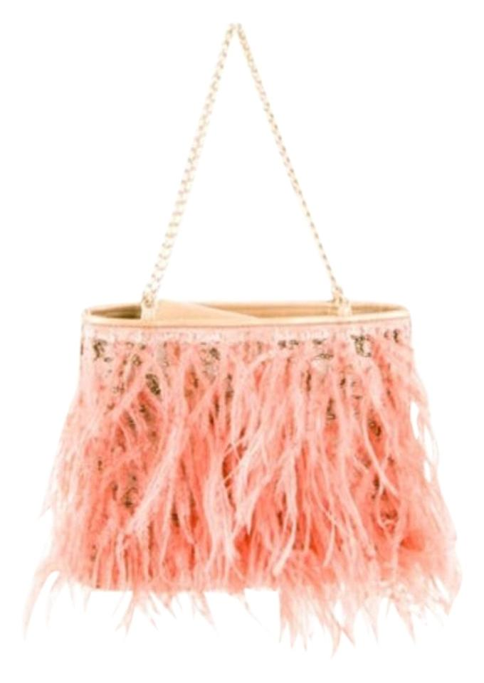edbcda9dc5545d Chanel Wristlet Gold-tone Leather with Pink Ostrich Feathers ...