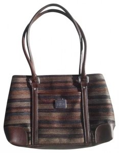 Liz Claiborne Tote in BROWN CREAM BLUE