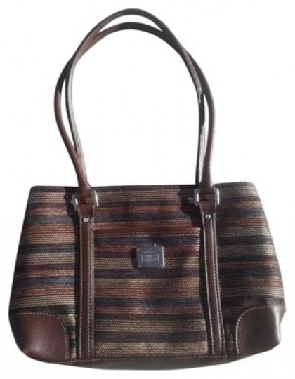 Preload https://img-static.tradesy.com/item/165923/liz-claiborne-brown-cream-blue-cotton-weave-and-leather-tote-0-0-540-540.jpg