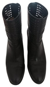 Nine West Hippy Chick Boho Ankle Perforated Leather Black Boots
