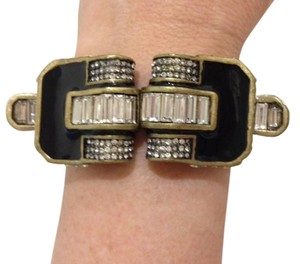 Lia Sophia Lia Sophia Black Enamel and Diamond Crystal Art Deco Cuff